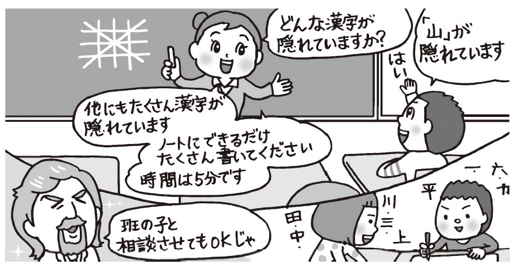 黒板に複雑な線の組み合わせを書き、どんな漢字が隠れているかクイズを出す先生