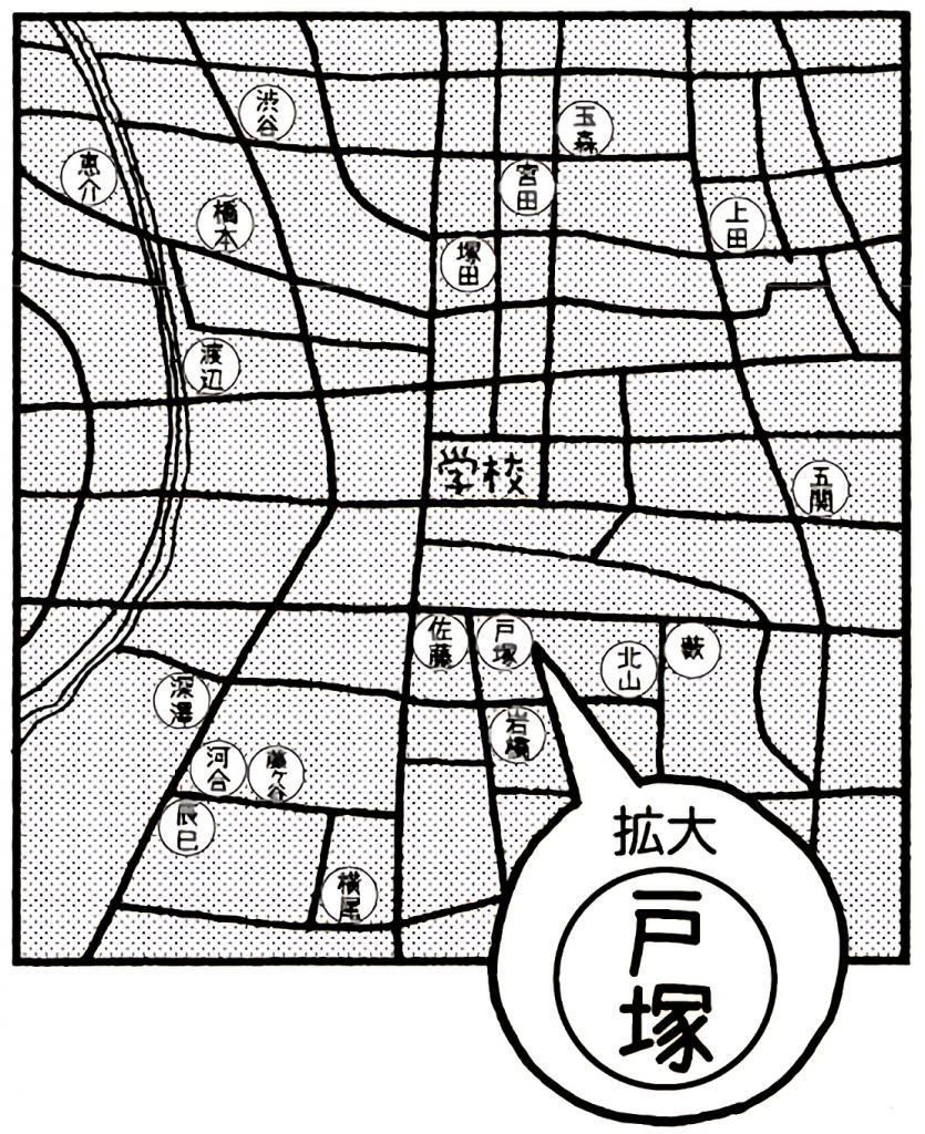 大きめの地図を用意して、こどもたちに自分の家の目印シールを貼って貰う