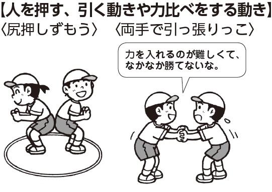 人を押す、引く動きや力比べをする動き(尻押しずもう)(両手で引っ張りっこ) 子ども「力を入れるのが難しくて、なかなか勝てないな」