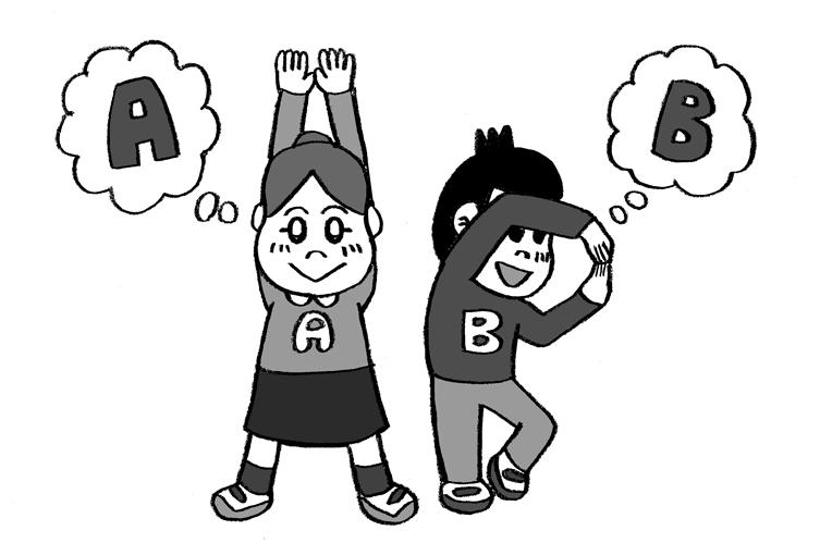 アルファベットのジェスチャーゲームをする子どもたち