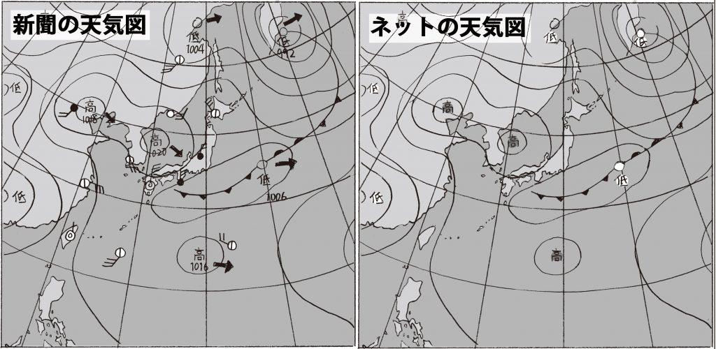 新聞とネットの、同じくらいの時間帯の天気図を並べて比較します