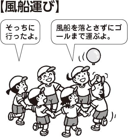 風船運び 子ども「そっちに行ったよ」「風船を落とさずにゴールまで運ぶよ」