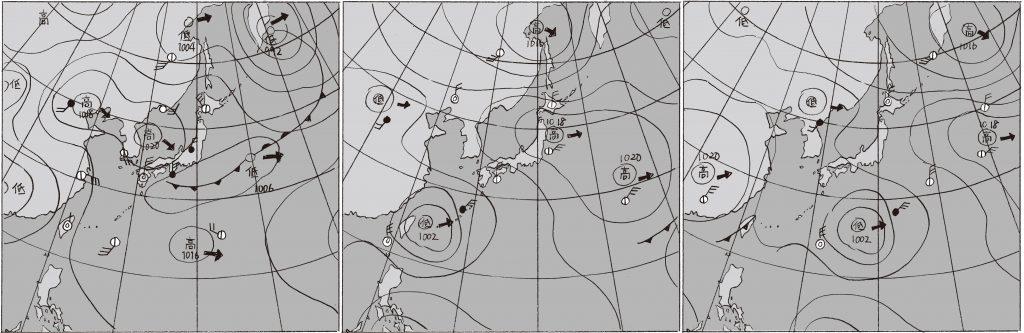 気圧配置の移り変わり(新聞映像のイメージ)