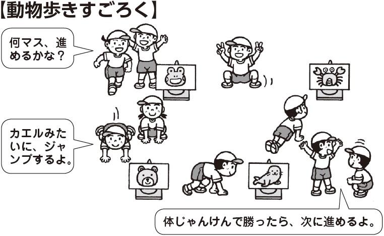 動物歩きすごろく 子ども「何マス、進めるかな?」「カエルみたいにジャンプするよ」「体じゃんけんで勝ったら、次に進めるよ」