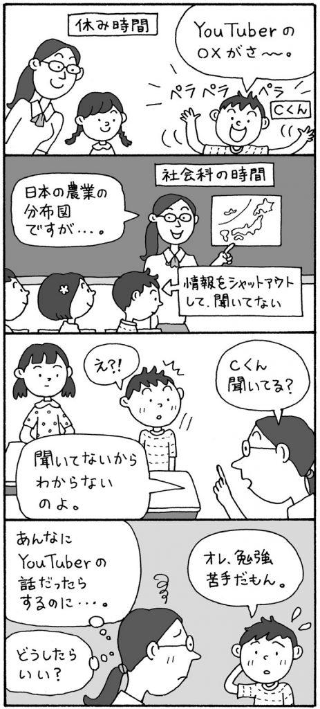 学習を諦めてしまっている子 休み時間 Cくん「Youtuberの〇×がさあ~」 先生「日本の農業の分布図ですが…」 Cくん、情報をシャットアウトして聞いてない 先生「Cくん、聞いてる?」 Cくん「え!?」 先生「聞いてないから分からないのよ」 先生'(あんなにYoutuberの話だったらするのに…。どうしたらいい?) Cくん「オレ、勉強苦手だもん」