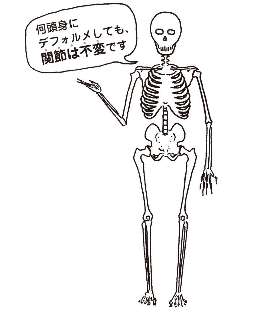 ガイコツ「何頭身にデフォルメしても、関節は不変です」