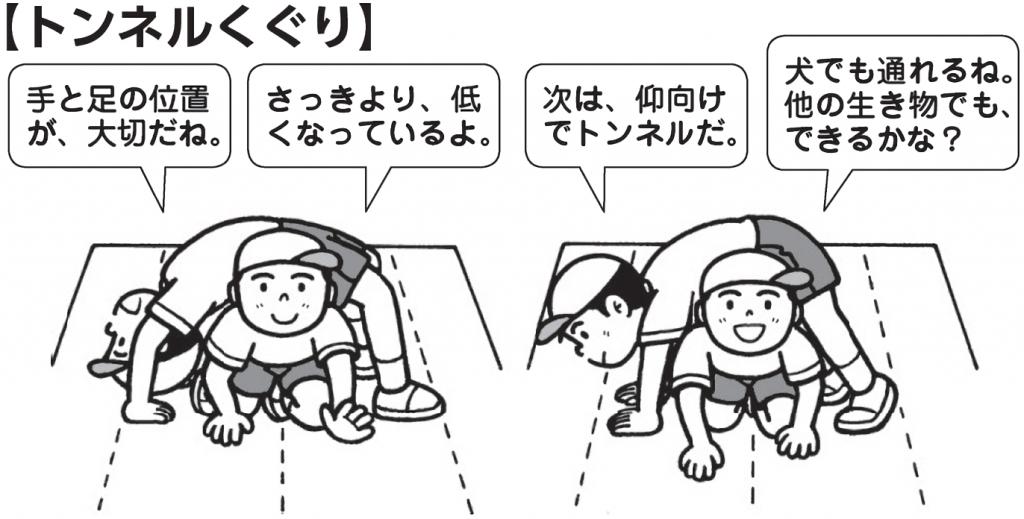 トンネルくぐり 「手と足の位置が大切だね」 「さっきより、低くなっているよ」 「次は仰向けでトンネルだ」 「犬でも通れるね。他の生き物でもできるかな」