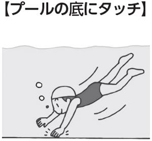 プールの底にタッチ