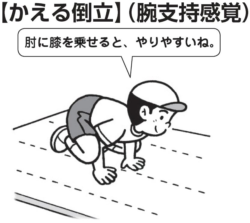 かえる倒立 「肘に膝を載せると、やりやすいね」