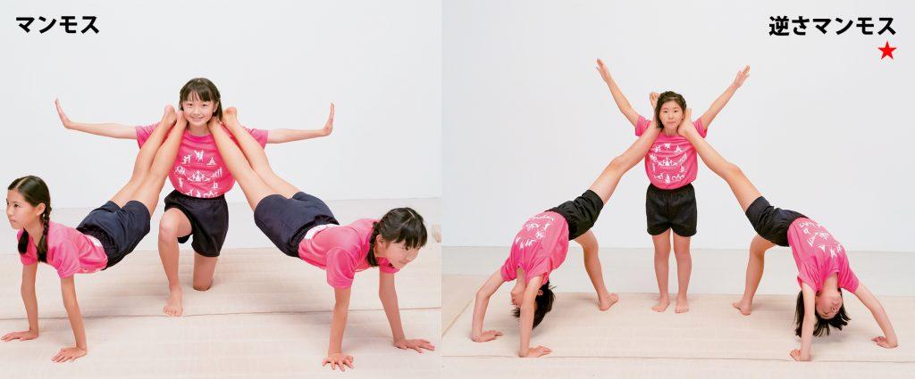 組み体操の3人技、マンモスと逆さマンモス