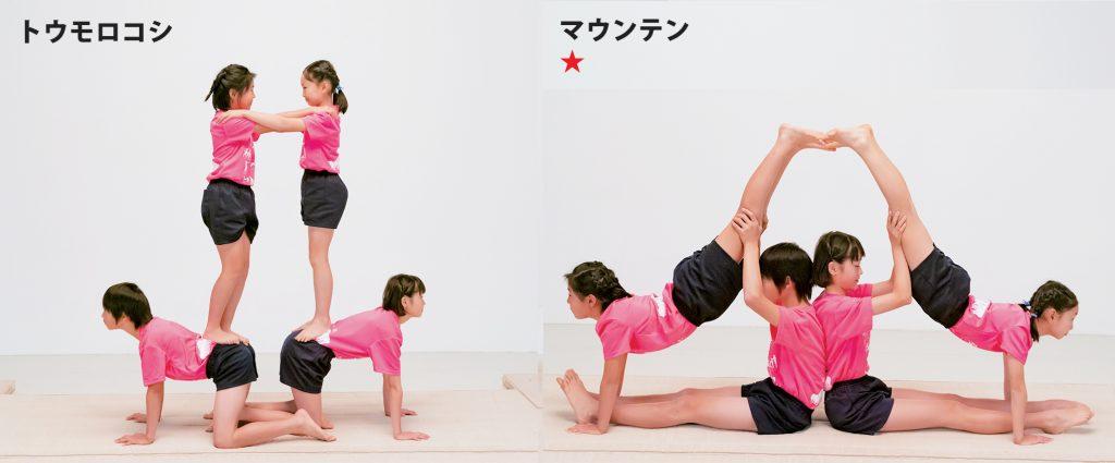 組み体操の4人技、トウモロコシとマウンテン