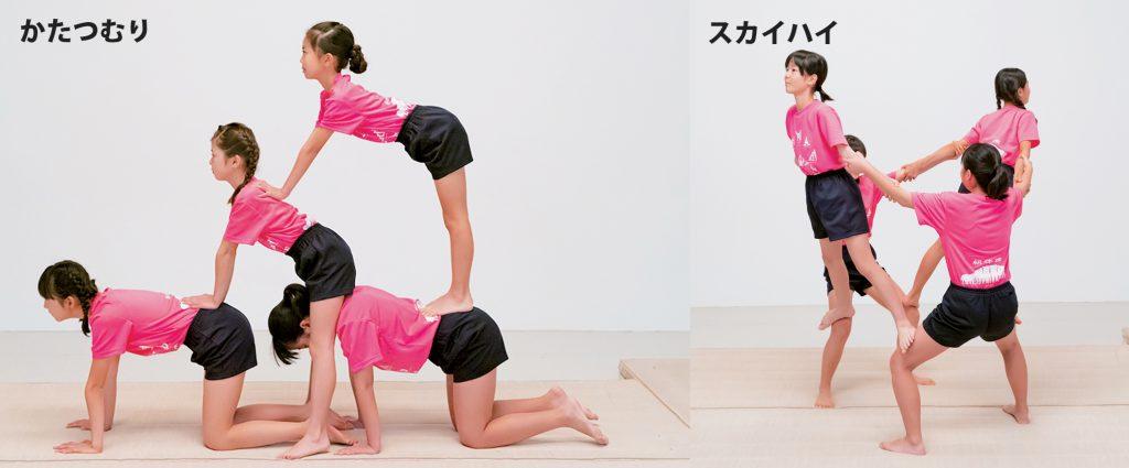 組み体操の4人技、かたつむりとスカイハイ