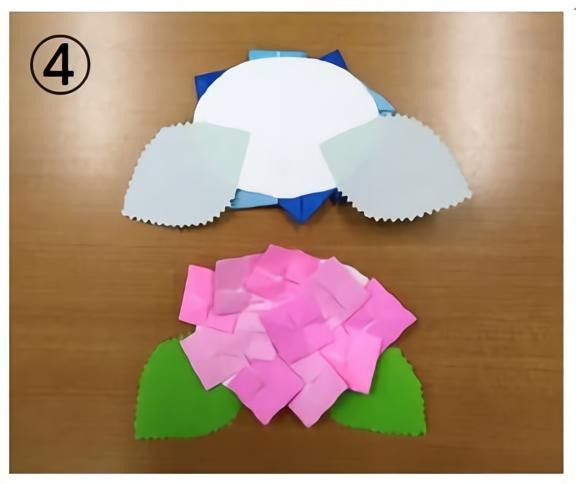 あじさい折り紙の作り方・パーツ貼り合わせ
