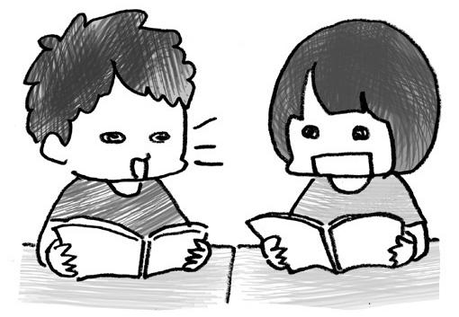 音読をし合う二人