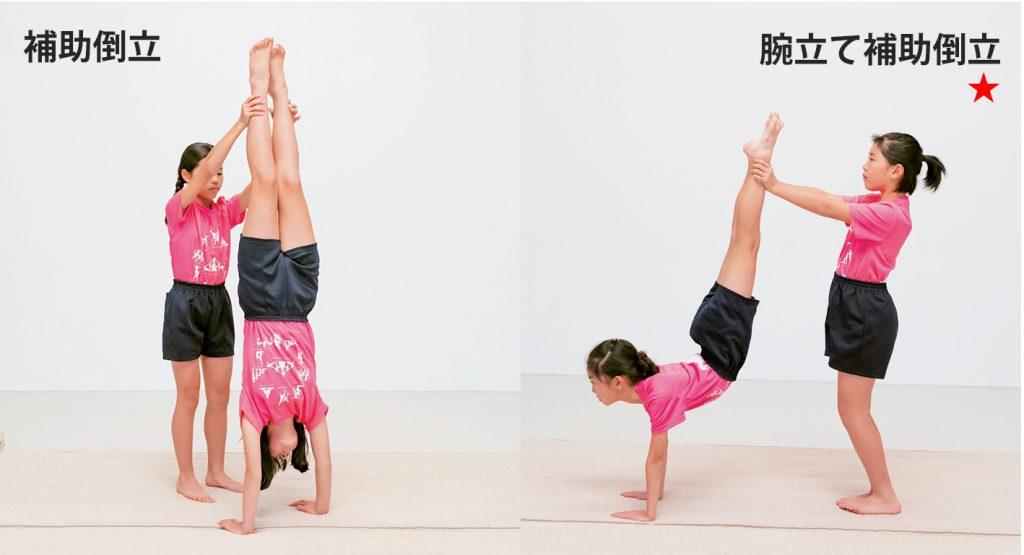 組体操の2人技・補助倒立と腕立て補助倒立