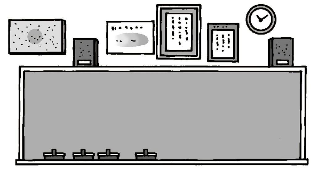 黒板とその周囲のもの