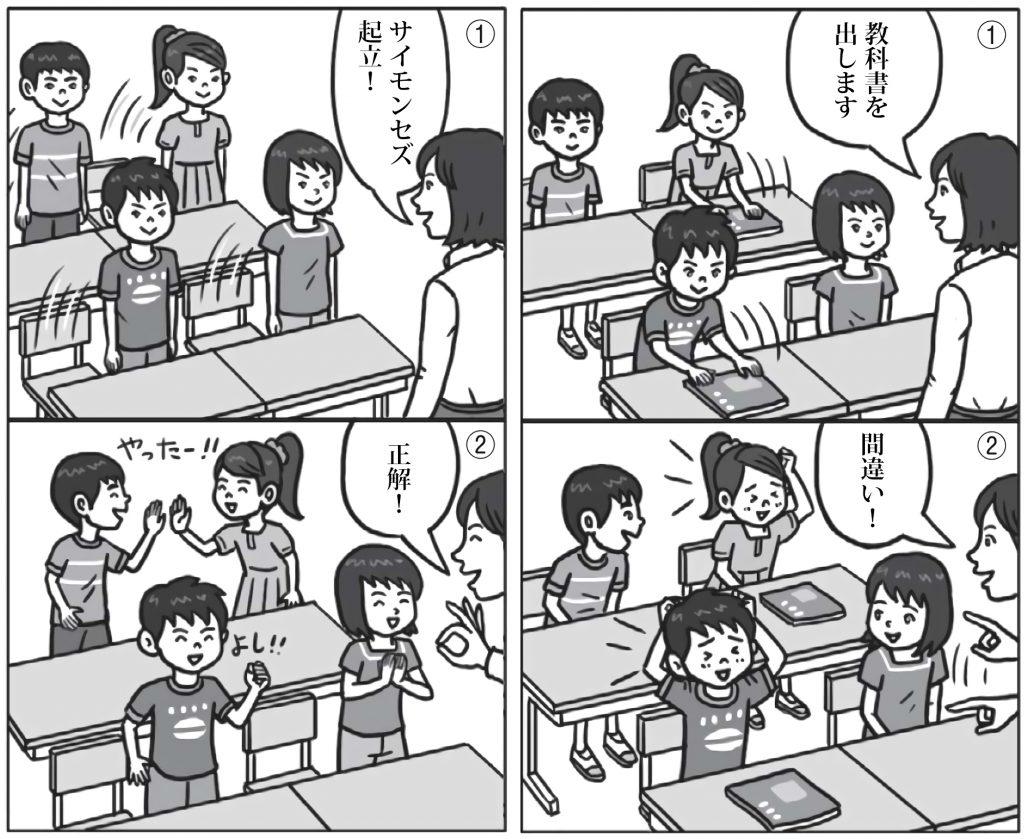 「サイモンセズ 起立!」「正解!」「教科書を出して」「間違い!」