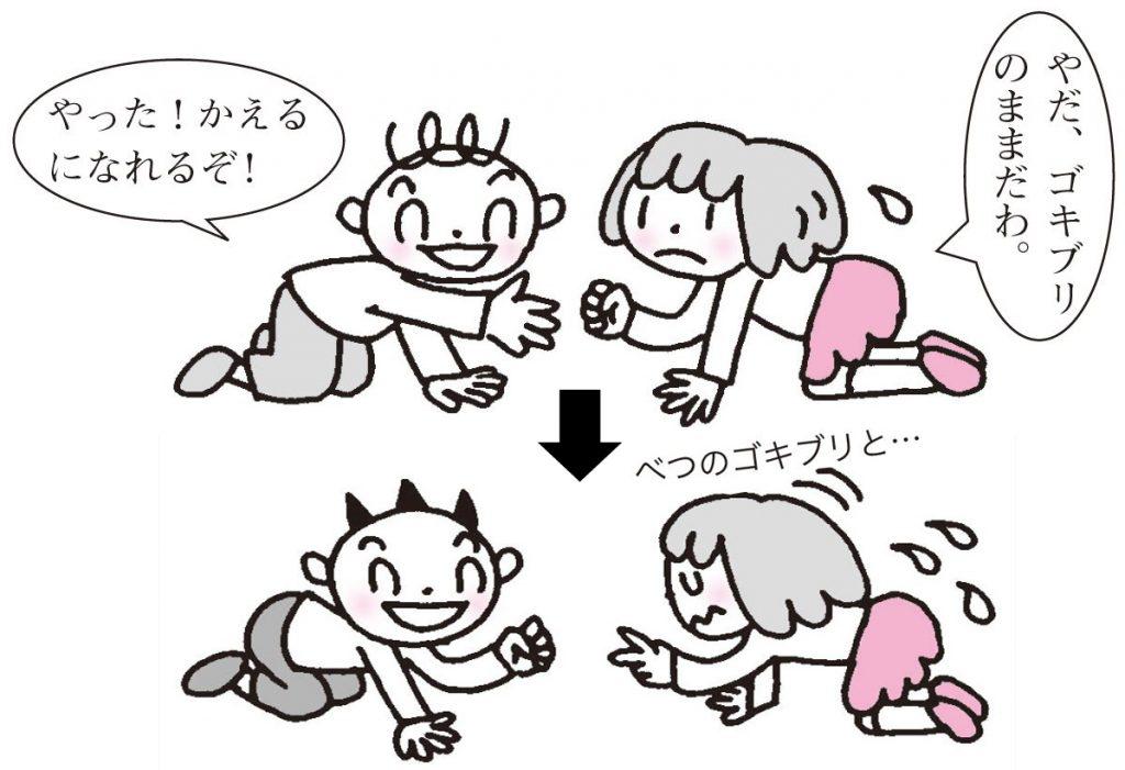 ゴキブリ同士対戦して、勝った方は進化できる