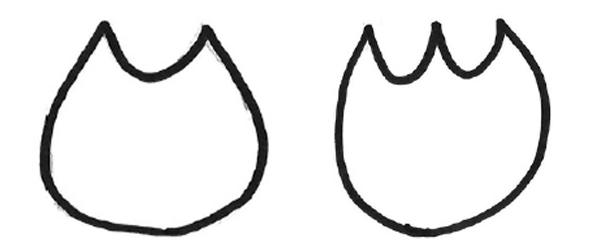 猫の形をした二角形と、チューリップの形をした三角形