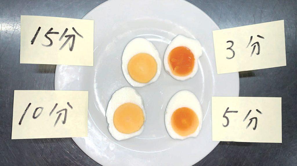 半熟は沸騰してから3分。固ゆでは10~15分ゆでる
