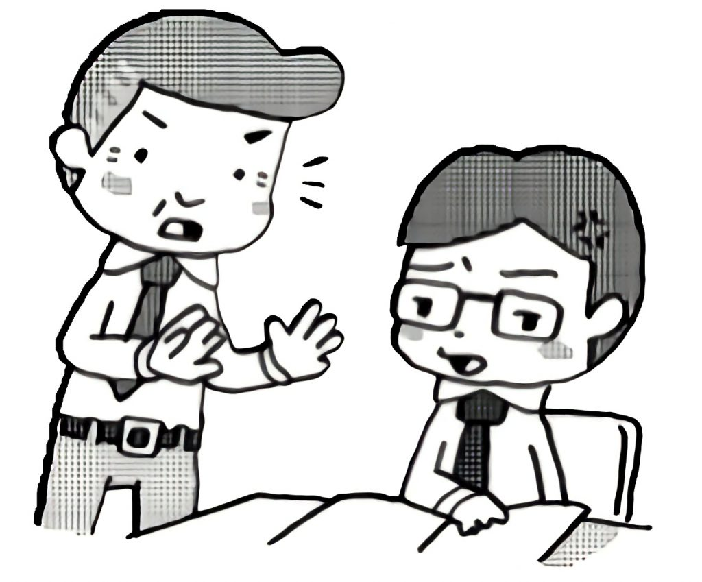 先輩から注意を受けているが不満そうな若手教師