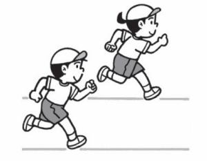 真似っこジョギング、まっすぐ