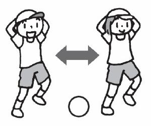 ボールの上にのせている足を、かわりばんこに入れ替えてみよう!