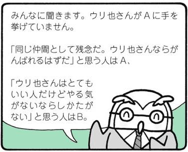 「ウリ也さんならがんばれるはずだ」と思う人はA、「やる気がないならしかたがない」と思う人はB、とみんなに聞く若き日のショーゾー先生