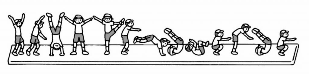 側方倒立回転→Y字バランス→跳び前転→前転