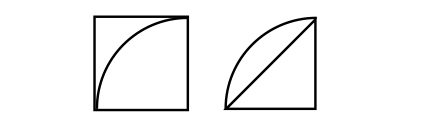 ねらい通りに解いている子が正方形や直角三角形に着目し、計算で方眼の数を求めている図