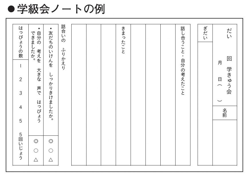 学級会ノートの例