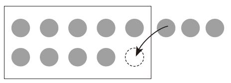 9個のおまんじゅうが入った10個入りの箱の外に3個おまんじゅうが置いてある状態で、1個箱に入れて合計を計算する方法