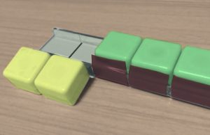ブロックとケースをテープで貼ることで、裏返すことができるようにすると便利