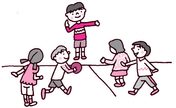 ドッジボールをしている人、声をかけて仲間に入る人にわかれて、声かけの練習。