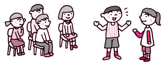グループになり、二人一組で質問と答える人をやり、他の人は感想を話し合う