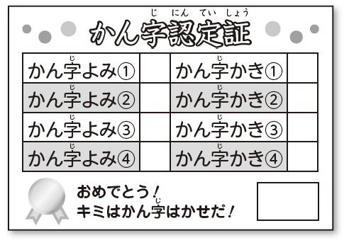 かん字認定テストの認定証