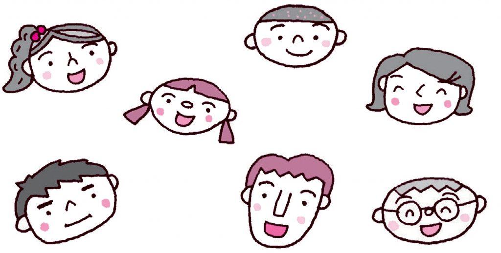 先生と子供たちの顔のイメージカット