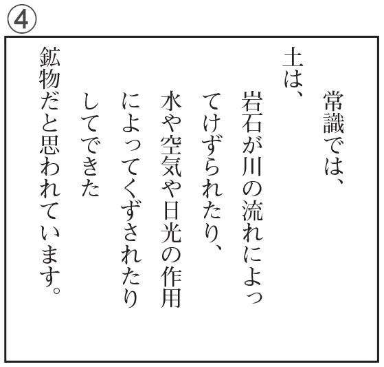 「生きている土」の文章を文の構造がよくわかるように視写したもの