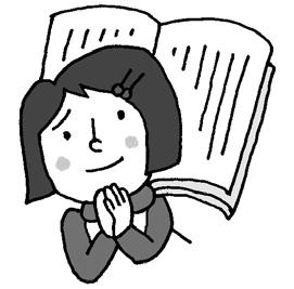 図書館で、探している本が見つからないので、友達に頼んでいっしょに探してもらう場面