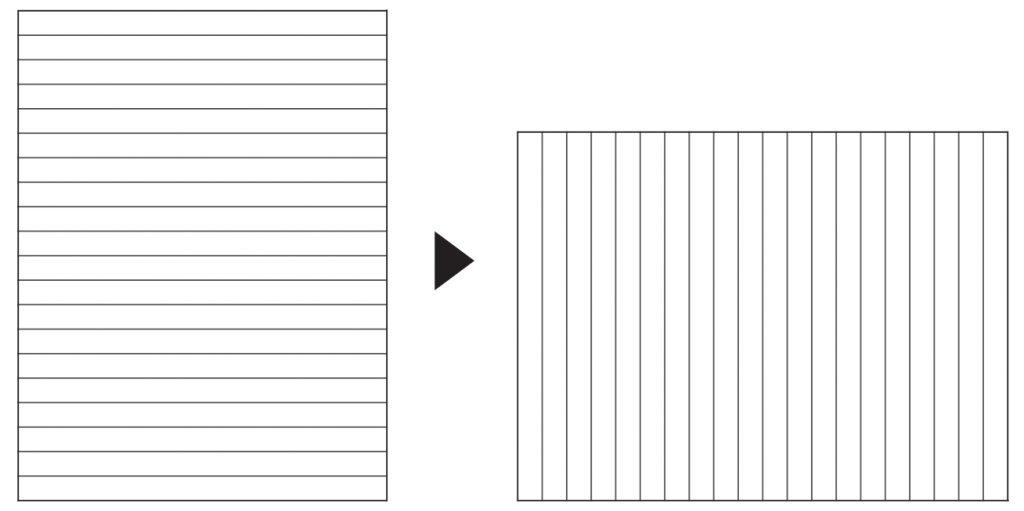 横軸のノートを90度回転させる