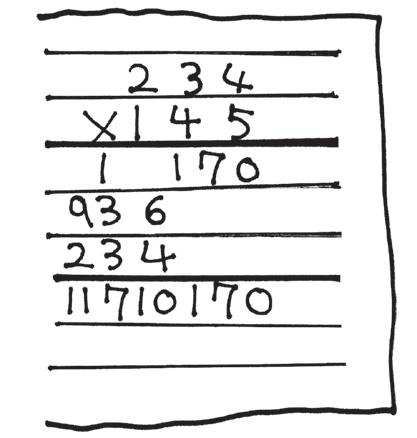 筆算が書かれたノート