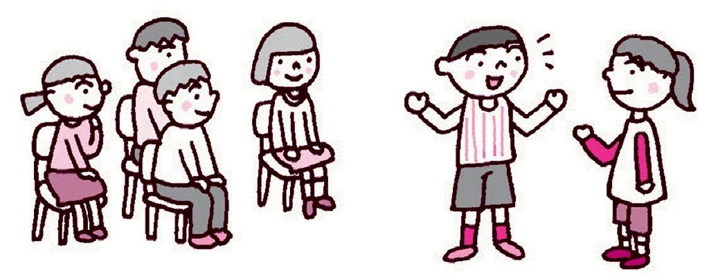 グループになり、二人一組で質問と答える人をやり、他の人は見ている