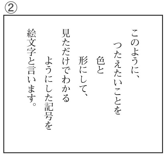 「くらしと絵文字」の文章を文の構造がよくわかるように視写したもの