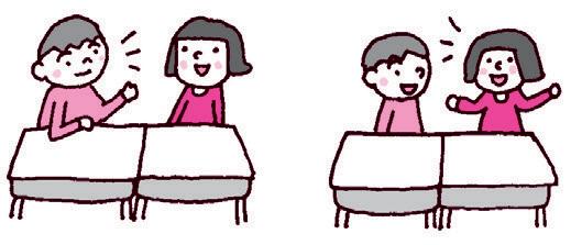 二人一組で質問する人と答える人が交代して練習する様子