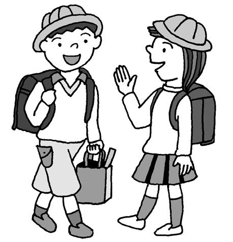 朝、学校に行くときに友だちに会った場面