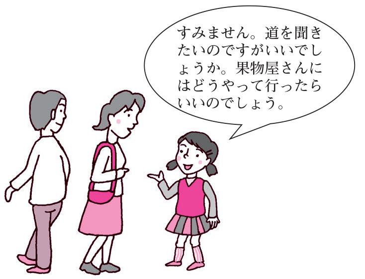女子「すみません。道を聞きたいのですがいいでしょうか果物屋さんにはどうやって行ったらいいのでしょう。」