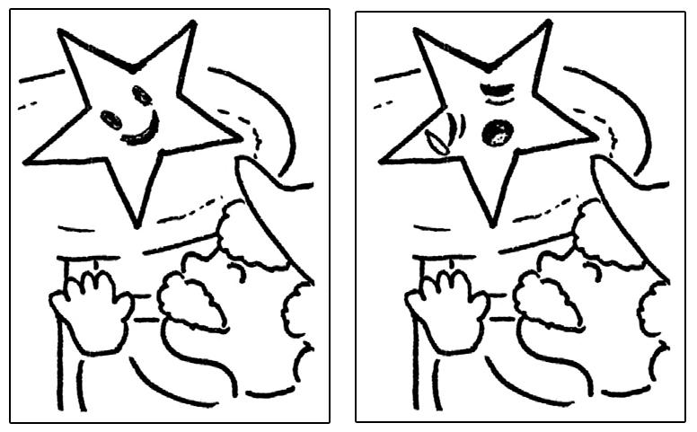 星の挿絵に表情を書き入れる(喜んでいる顔と喜んでいない顔)