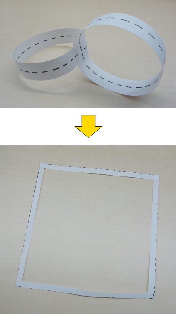 二つの輪を垂直に張り合わせて輪っかの中心を切ると正方形になる