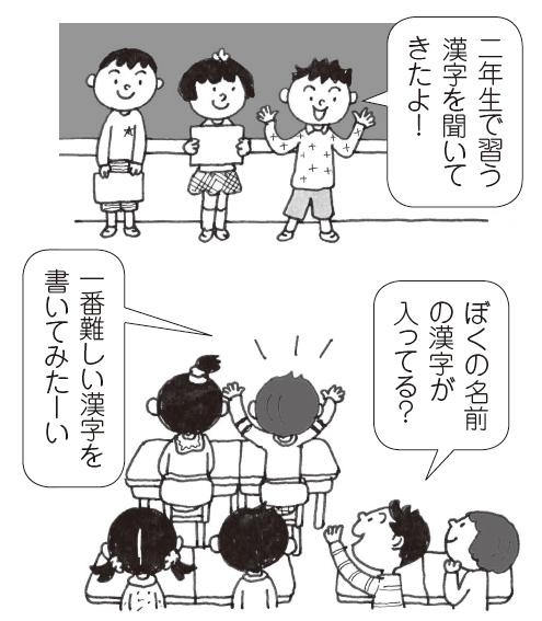 「二年生で習う漢字を聞いてきたよ!」「ぼくの名前の漢字が入っている?」「一番難しい漢字を書いてみたーい」