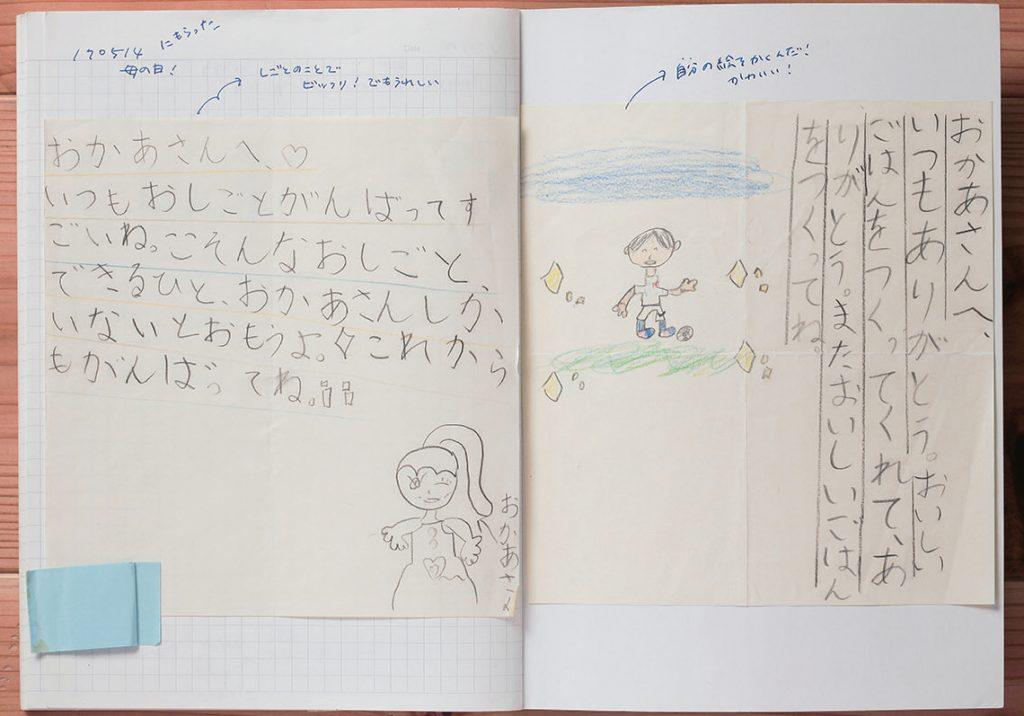 子どもからの手紙を貼ったマイノート